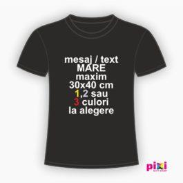 Tricou negru personalizat cu mesajul tau