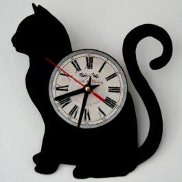 Ceas traforat manual din vinil – pisica
